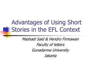 Advantages of Using Short Stories in the EFL Context