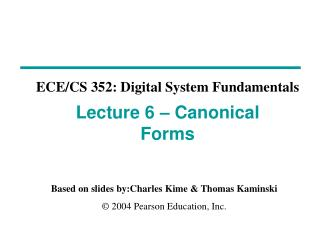 Lecture 6 – Canonical Forms