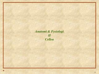 Anatomi & Fysiologi II Cellen
