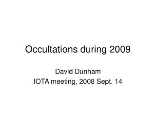 Occultations during 2009