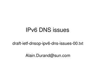IPv6 DNS issues