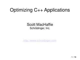 Optimizing C++ Applications