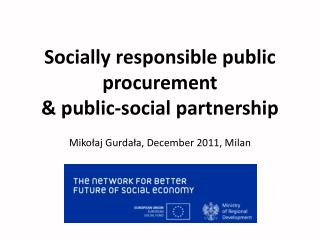 Socially responsible public procurement  & public-social partnership