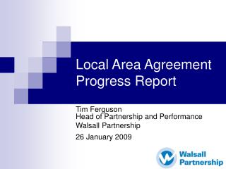 Local Area Agreement Progress Report
