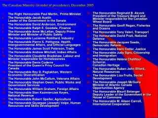 The Canadian Ministry (in order of precedence), December 2005