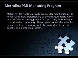 Metrolina  PMI Mentoring Program