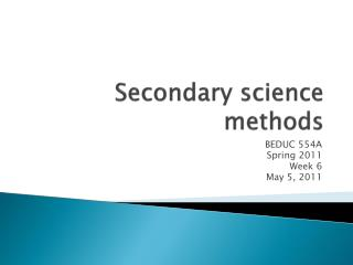 Secondary science methods