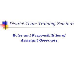 District Team Training Seminar