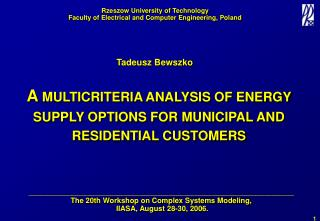 A  MULTICRITERIA ANALYSIS OF ENERGY SUPPLY OPTIONS FOR MUNICIPAL AND RESIDENTIAL CUSTOMERS