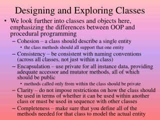 Designing and Exploring Classes