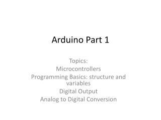 Arduino Part 1