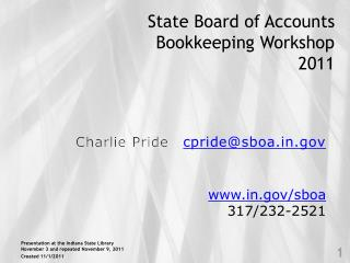 State Board of Accounts Bookkeeping Workshop 2011