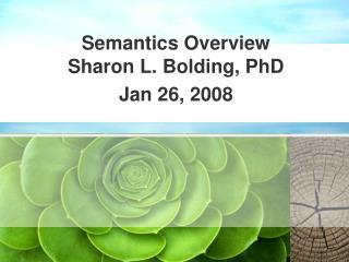 Semantics Overview Sharon L. Bolding, PhD Jan 26, 2008