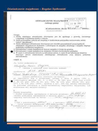 Oświadczenie majątkowe – Bogdan Sędkowski