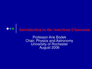 Introduction to the American Classroom