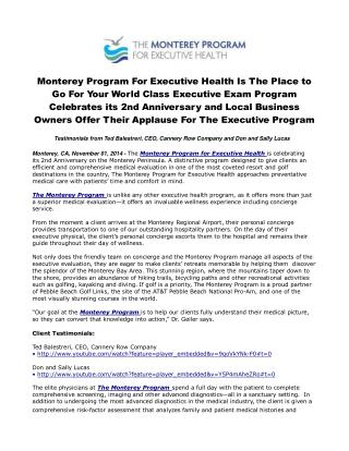 Monterey Program For Executive Health is the Place