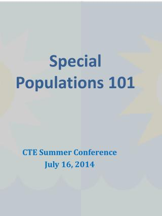 Special Populations 101