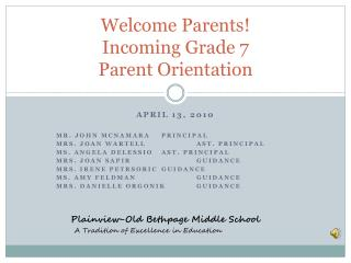 Welcome Parents! Incoming Grade 7  Parent Orientation