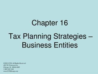 Chapter 16   Tax Planning Strategies   Business Entities