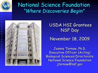 "National Science Foundation  ""Where Discoveries Begin"""