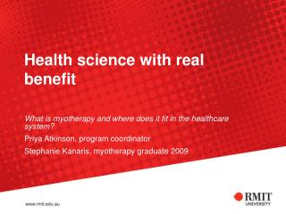 Health science with real benefit