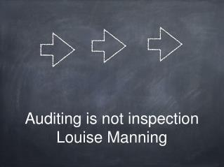 Auditing is not inspection Louise Manning