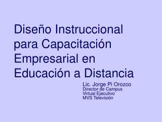 Diseño Instruccional para Capacitación Empresarial en Educación a Distancia