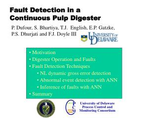 Fault Detection in a  Continuous Pulp Digester