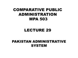 PAKISTAN ADMINISTRATIVE SYSTEM