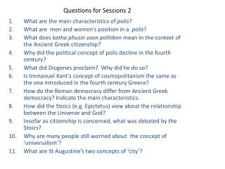 Questions for Sessions 2