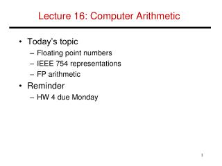 Lecture  16:  Computer Arithmetic