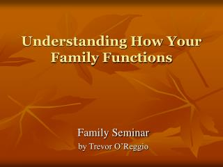 Understanding How Your Family Functions