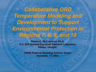 Steven C. McCutcheon, Ph.D. U.S. EPA National Exposure Research Laboratory Athens, Georgia,