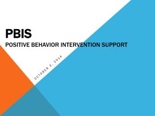 PBIS Positive Behavior Intervention Support