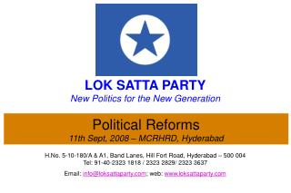 Political Reforms 11th Sept, 2008 – MCRHRD, Hyderabad