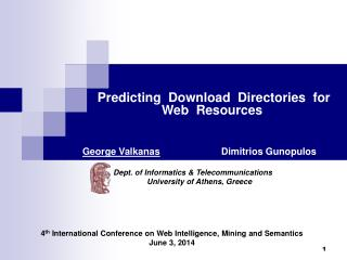 Predicting  Download  Directories  for        Web  Resources