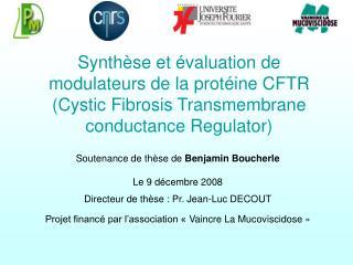 Soutenance de thèse de  Benjamin Boucherle Le 9 décembre 2008