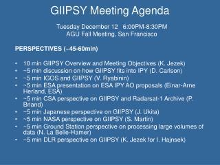 GIIPSY Meeting Agenda