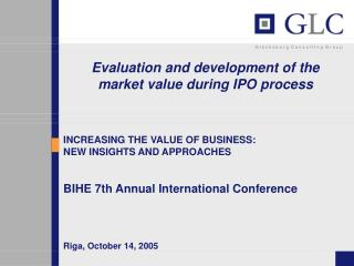 Evaluation and development of the      market value during IPO process
