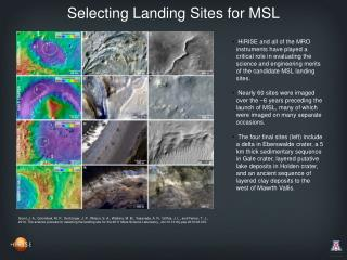 Selecting Landing Sites for MSL