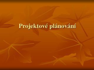 Projektové plánování