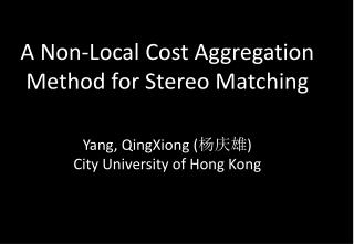 A Non-Local Cost Aggregation Method for Stereo Matching Yang,  QingXiong  ( 杨庆雄 )