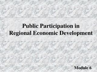 Public Participation in Regional Economic Development