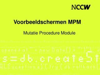 Voorbeeldschermen MPM