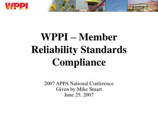 WPPI – Member Reliability Standards Compliance
