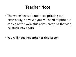 Teacher Note