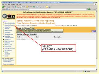 SELECT  (CREATE A NEW REPORT)