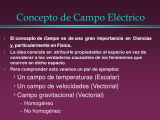 Concepto de Campo Eléctrico
