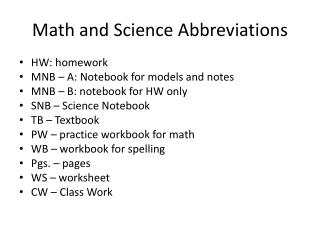 Math and Science Abbreviations