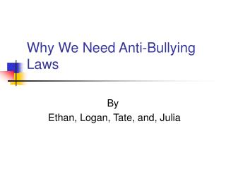 Why We Need Anti-Bullying Laws